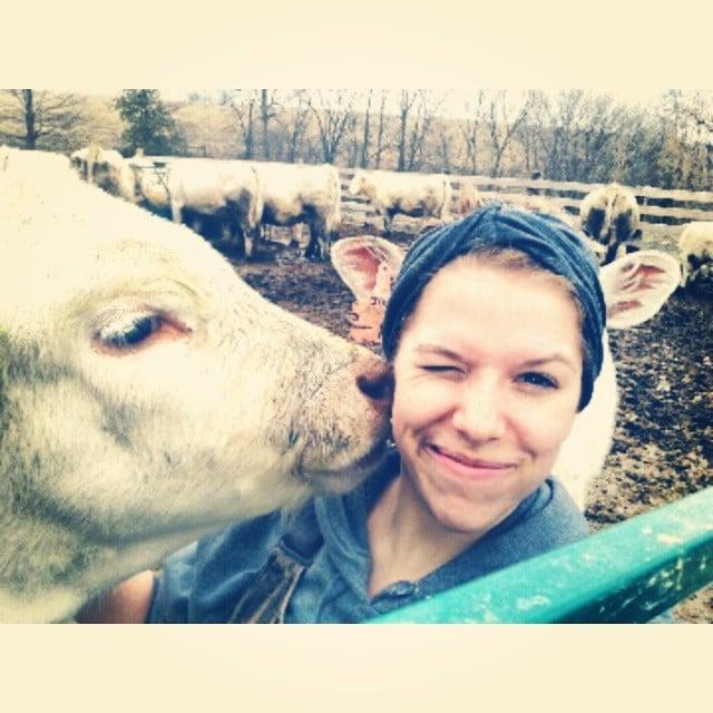 Cara de una chica que esta siendo besada por una vaca
