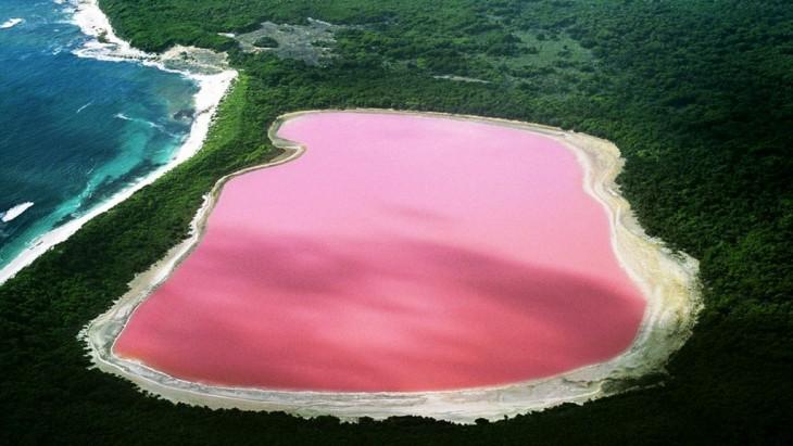 Lago de color rosa Hiller en Australia