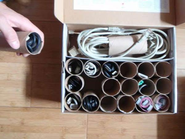 cartn de papel higinico para cables y cordones
