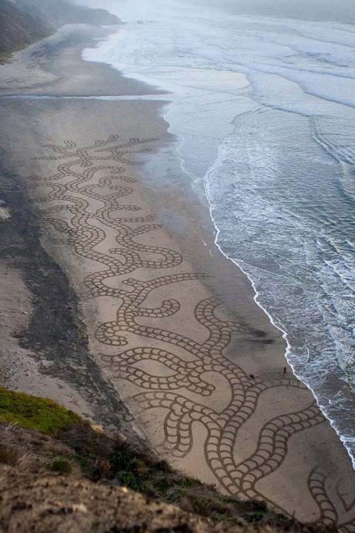 andres amador arte arena olas tapando