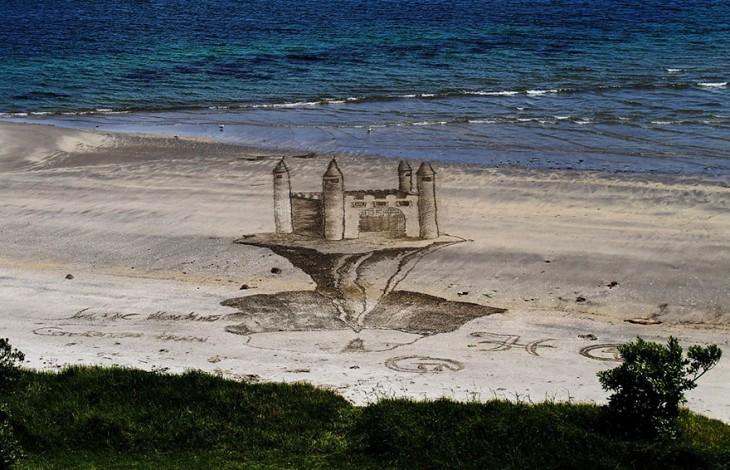 ilusion optica en arena jamie harkings castillo de arena