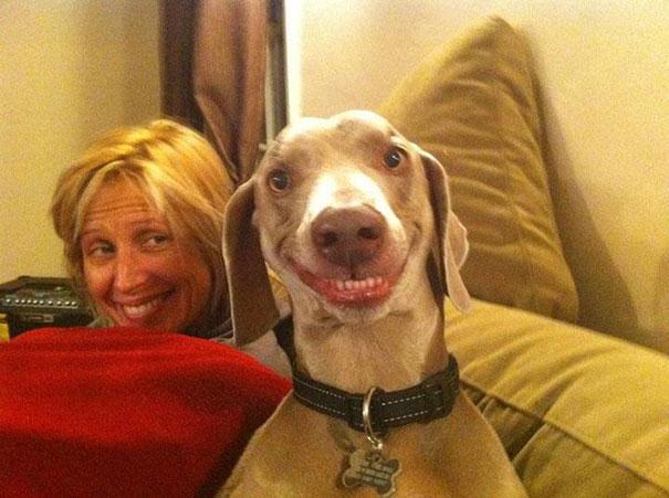 hermosa sonrisa de ambos , el perro y la dueña