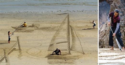 arista crea arte 3d en la arena de la playa