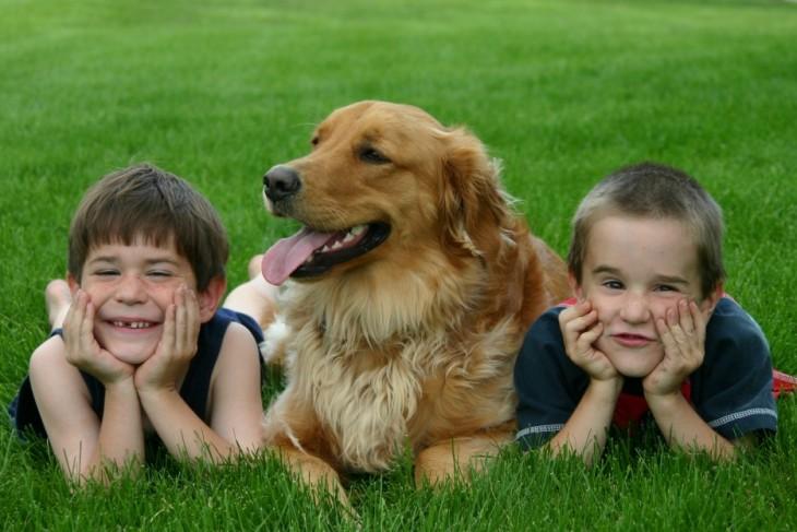 hermanos con su perro