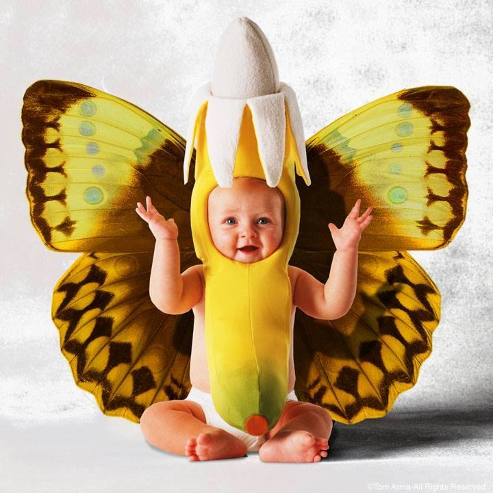 bebé disfrazado de banana mariposa