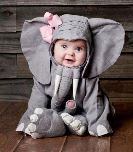 bebé disfrazado de elefante
