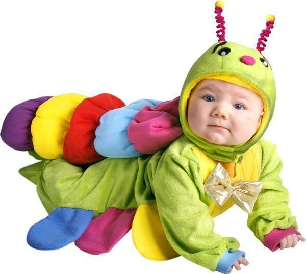 bebé disfrazado de gusanito