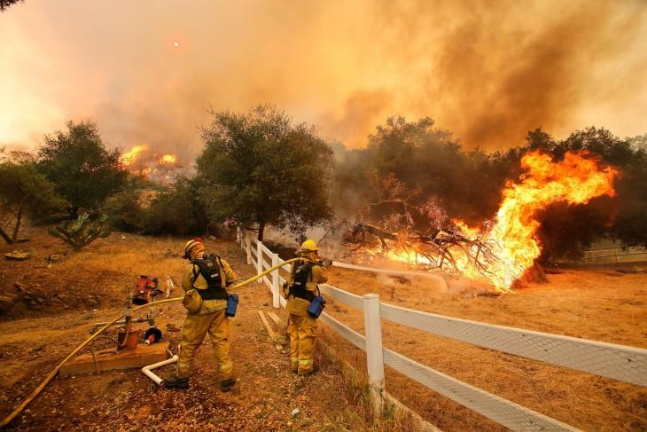 bomberos apagando un incendio forestal