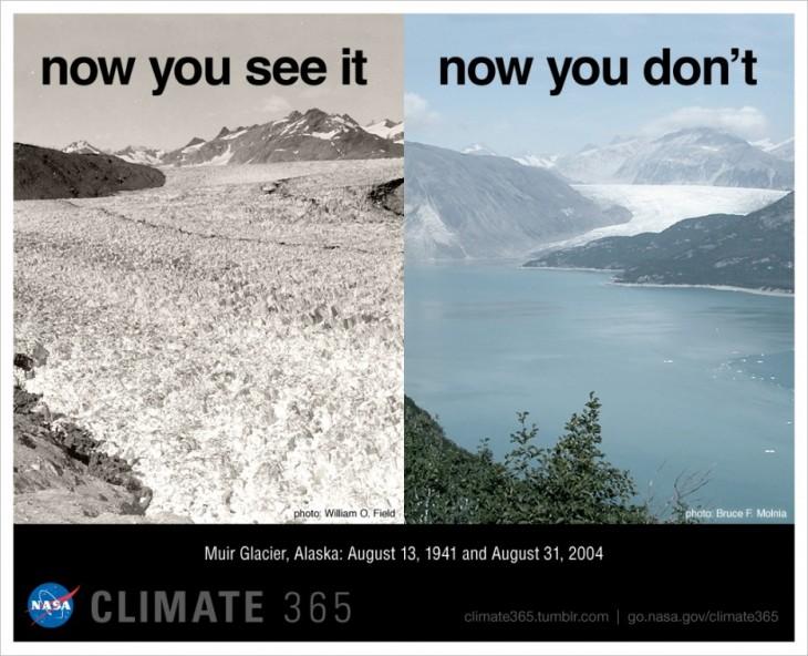 imagen comparativa del antes y después de como van desapareciendo los glaciares