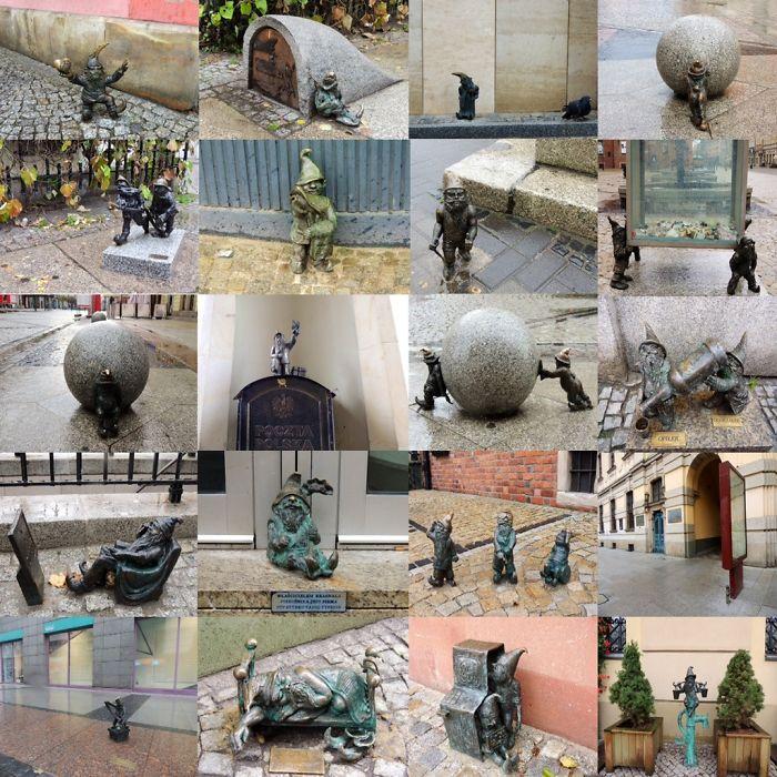 Diversas esculturas de Gnomos en la ciudad de Wrocland Polonia