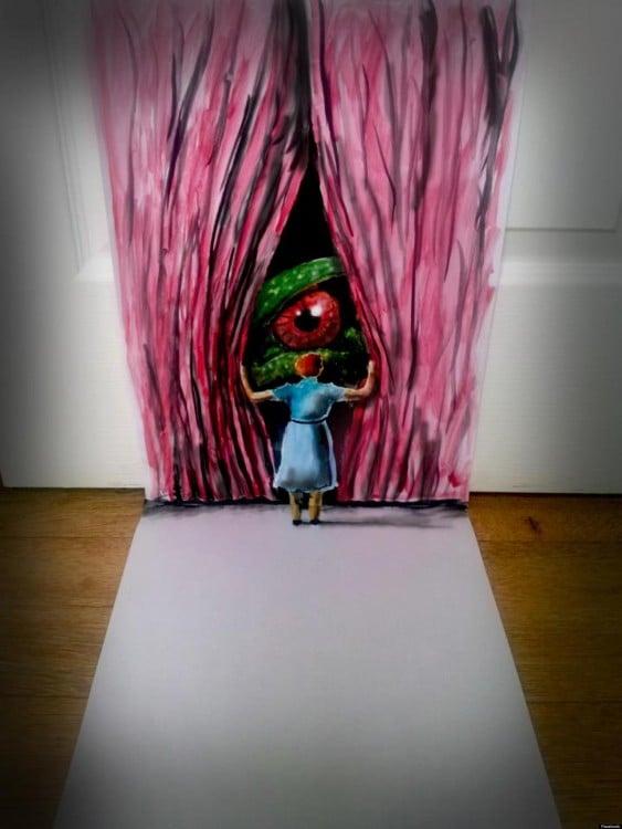 dibujo de una mujer abriendo unas cortinas con un ojo en una hoja de papel