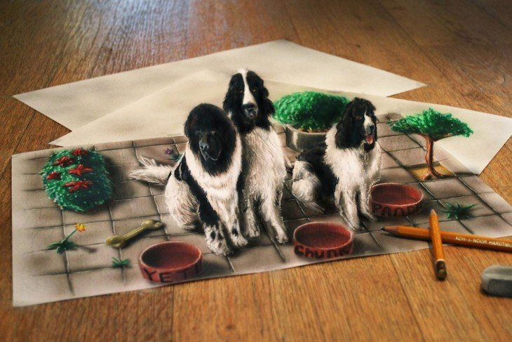 dibujo en 3D de unos perros frente a sus tazones de comida