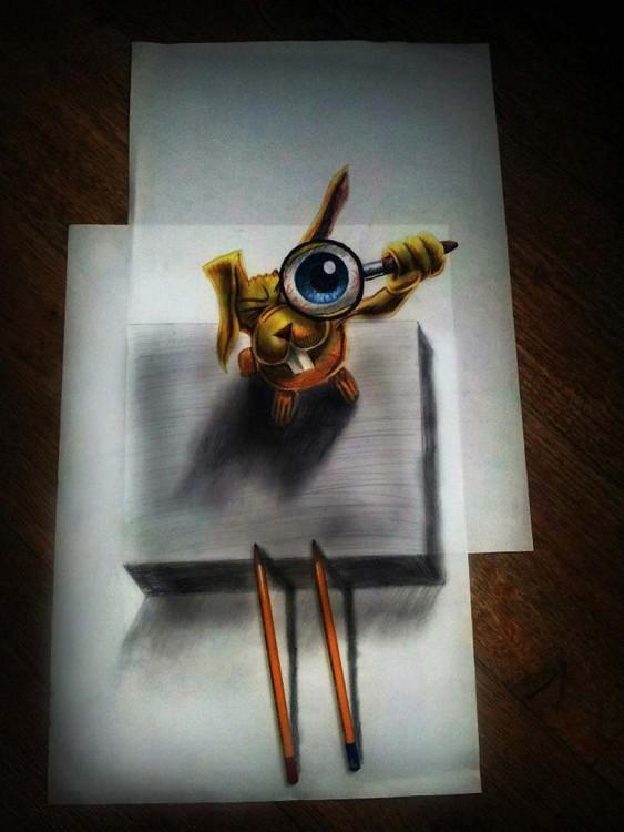 dibujo de un conejo con una lupa sobre su ojo