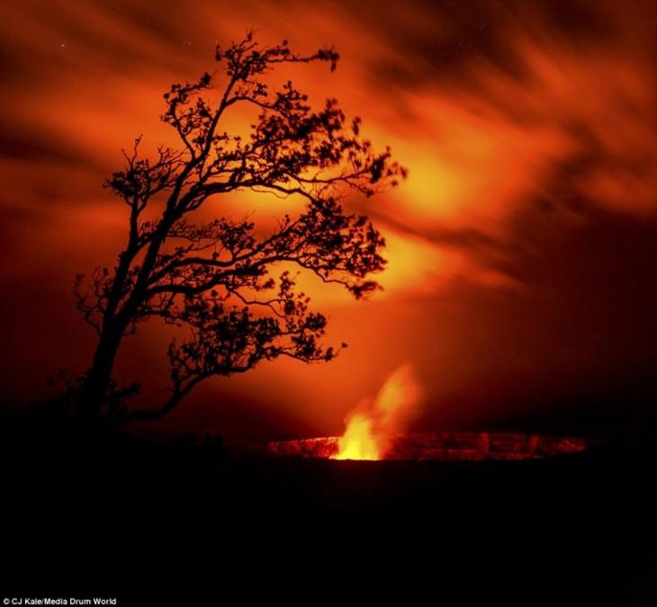 Kilauea, Hawaii al atardecer