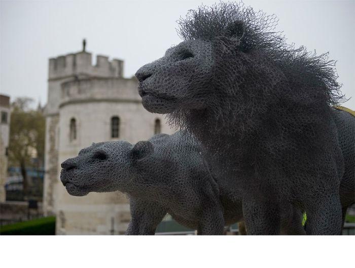 Famosa escultura de Leones, en la Torre de Londres