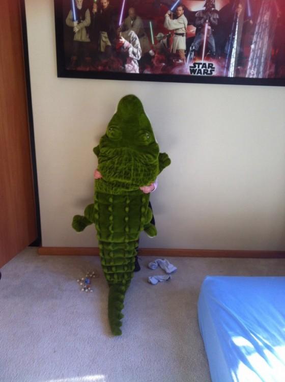 Niño recargado en la pared escondido detrás de un cocodrilo