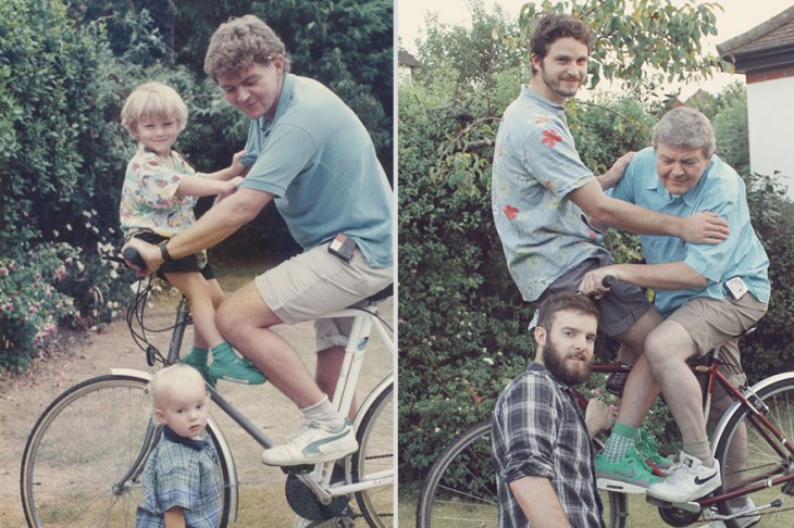 padre e hijos recrean foto con 20 años de diferencia andando en la bicicleta