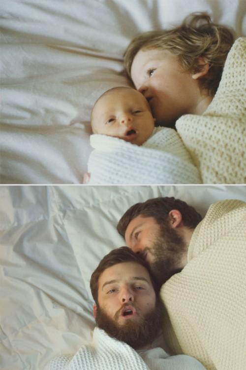 Recreación de fotos de hermanos acostados en la cama