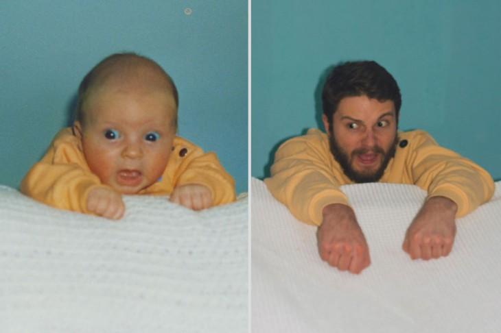 Recreación de foto con 20 años de diferencia