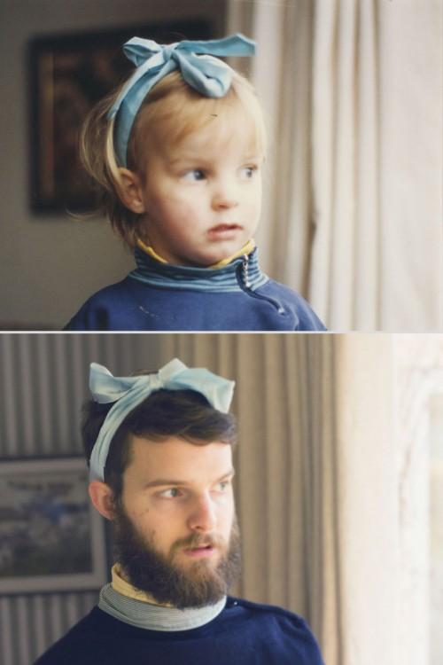 niño con un moño en la cabeza