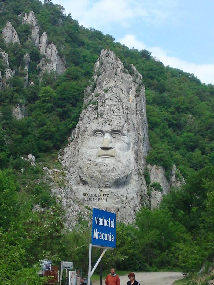 Roca tallada de 40 metros en Europa, Rey Decebalus, Rumania,