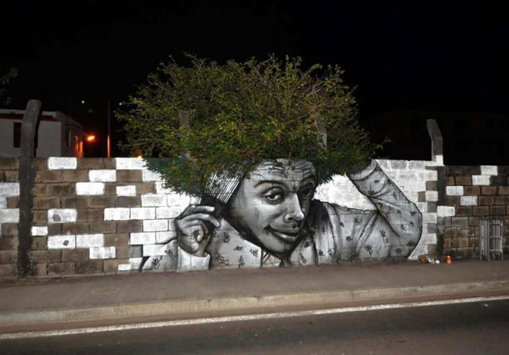 arte urbano muros pintados y plantas
