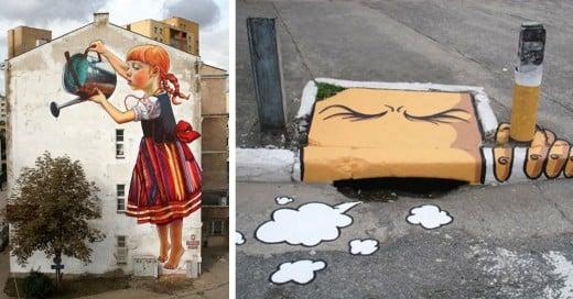 arte urbano que interactua con sus alrededores