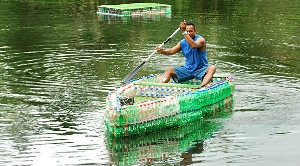 Boat Made of Plastic Bottles