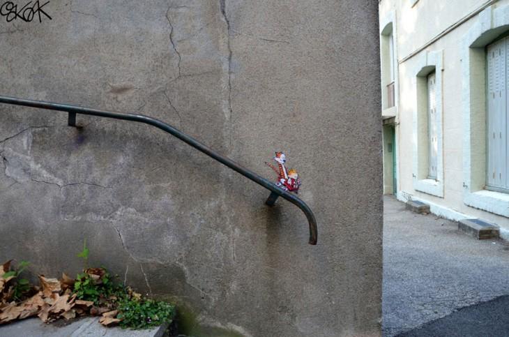 creativo arte en las calles y escaleras