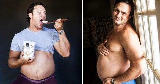 esposo decide tomarse fotos de maternidad