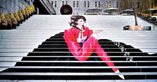 escaleras pintadas de geisha