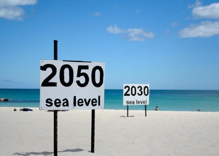 nivel del mar en los polos donde estara en 2030 y 2050