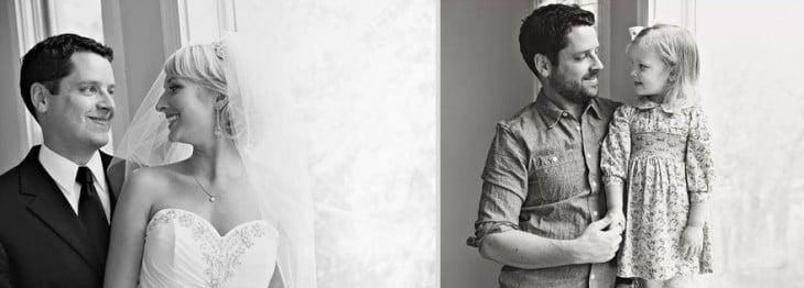 fotos del padre con su hija imitando la foto que tenia con su esposa