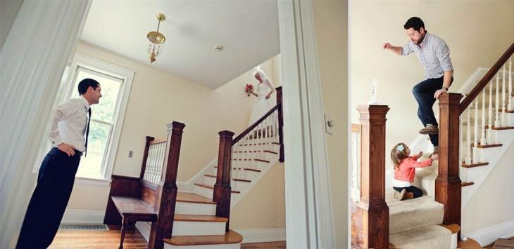 recien casada bajando la escalera