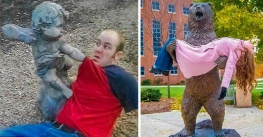 personas que se divierten con estatuas