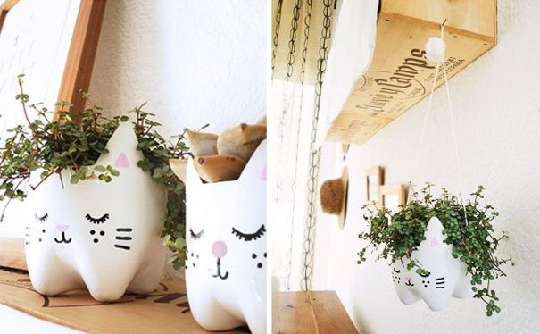 Kitty DIY Planters From Plastic Bottles
