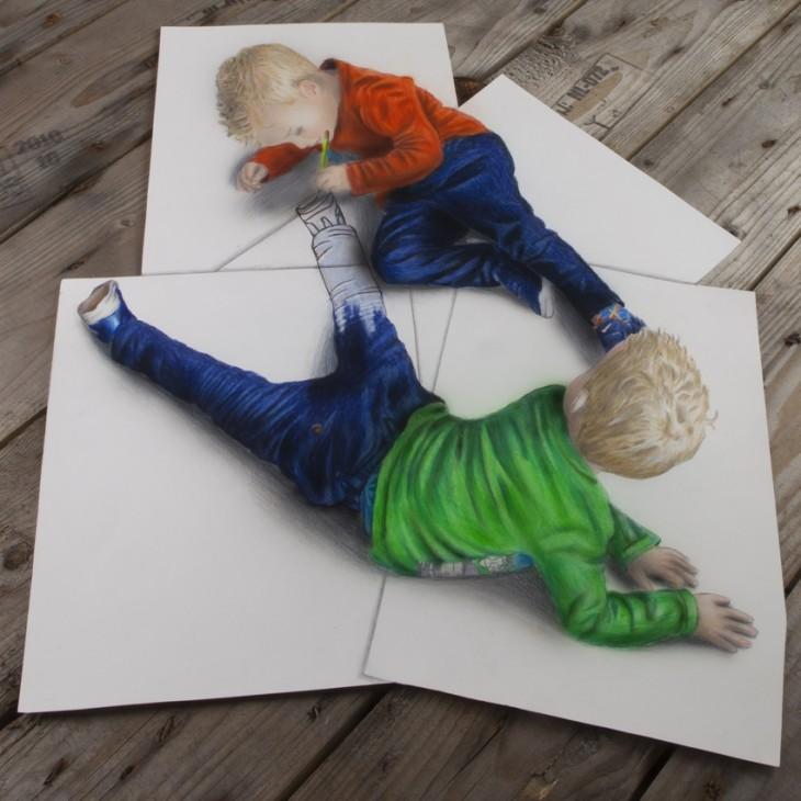 ramon bruin 3d niño pintandose