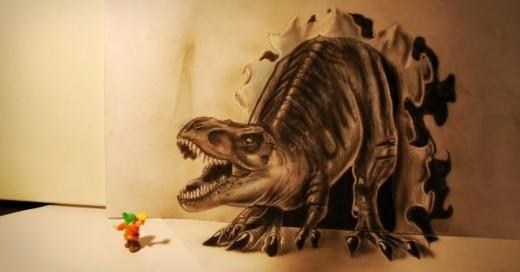 ramon bruin 3d dinosaurio atacando a un nomo