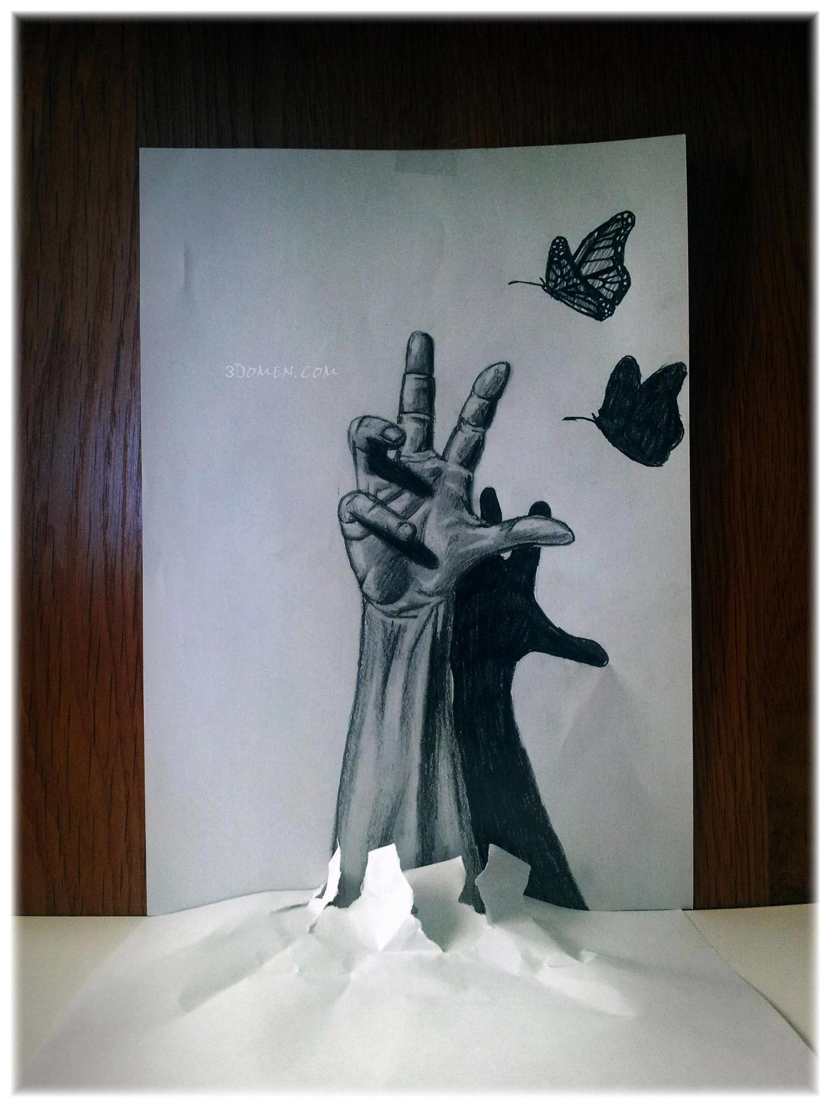 Impresionare dibujos con efecto 3d en simples hojas de papel