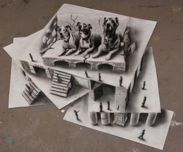 ramon bruin 3d perros arriba de papel