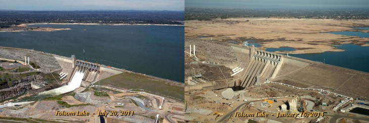 sequia en california, antes y despues de los embalces