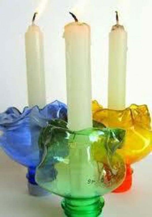 25 ideas para reutilizar o reciclar botellas de plastico - Botellas con velas ...