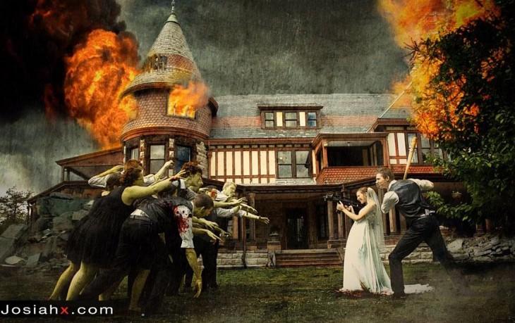 novios en contra de invitados zombies