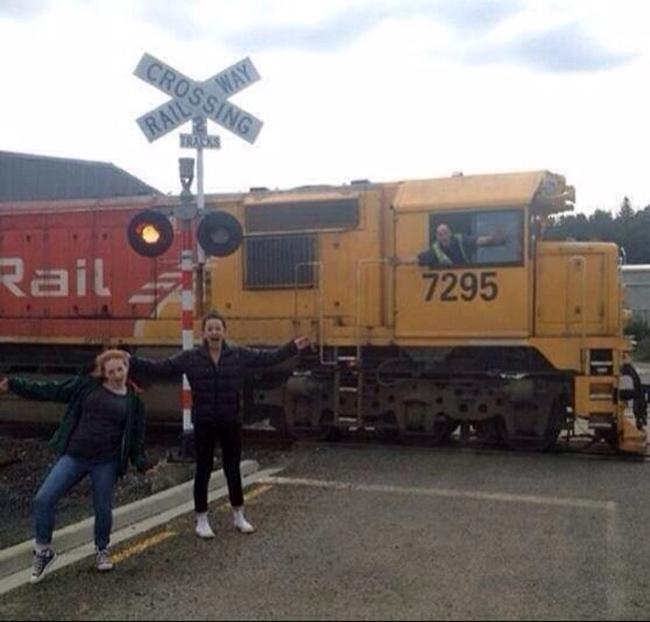 selfie cuando esta pasando un tren