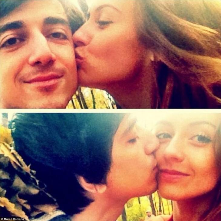 imagen dividida en dos partes de un fotógrafo con su novia modelo