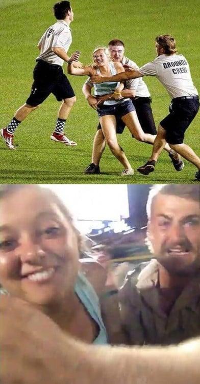 Selfie de una chica mientras la sacan de un estadio de futbol