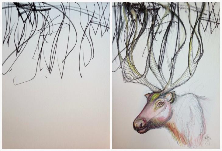 Ruth Oosterman e hija de 2 años transforman un ciervo pintandolo