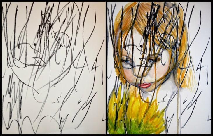 Niña de 2 años hace garabatos de una princesa que su madre pinta