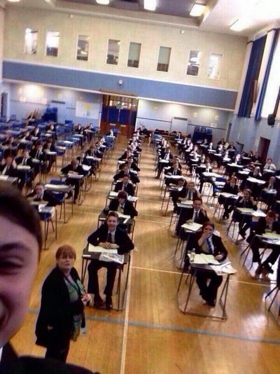 selfie En medio de un examen