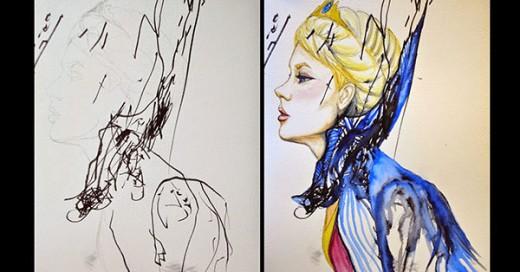 artista transforma bocetos de su hija en obras de arte